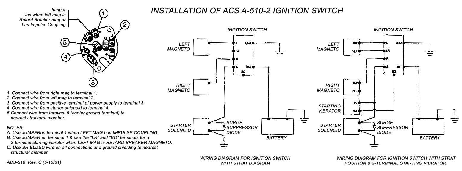 ACS KEYED IGNITION SWITCH WITH START POSITION A-510-2 FAA-PMA