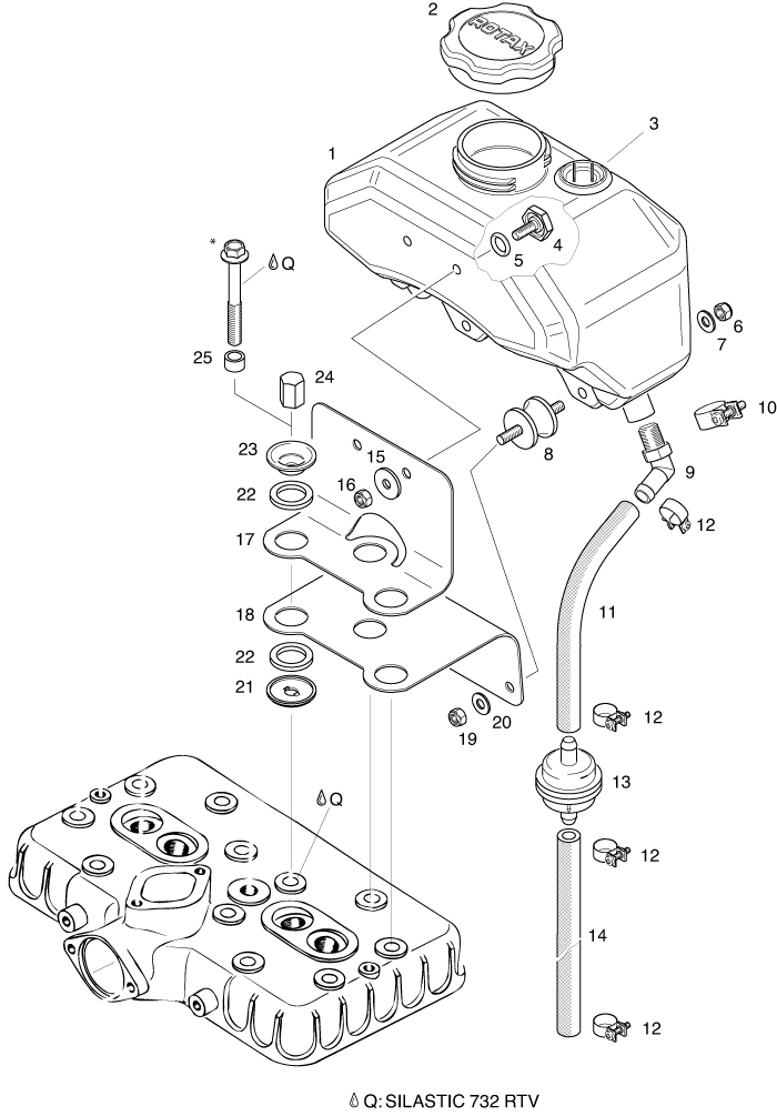 ROTAX 447 503 582 618 UL ENGINE OIL TANK ASSEMBLY PARTS from – Rotax Engine Oil Line Diagram