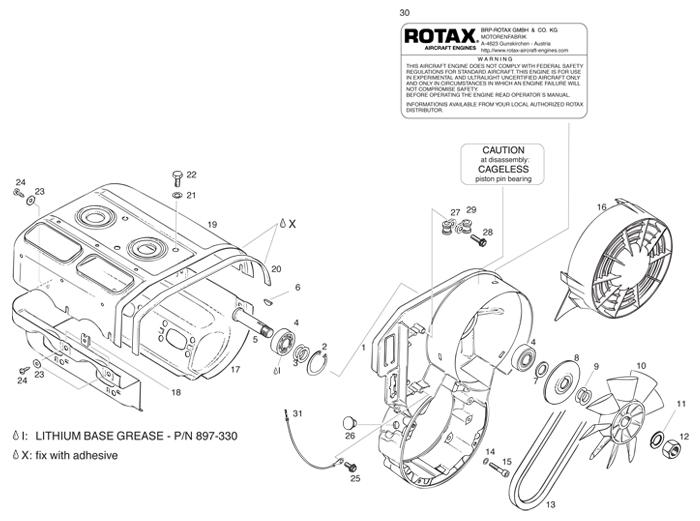 rotax 447 ul engine fan housing cylinder cowls fan v belt Indak Ignition Switch Diagram reference chart