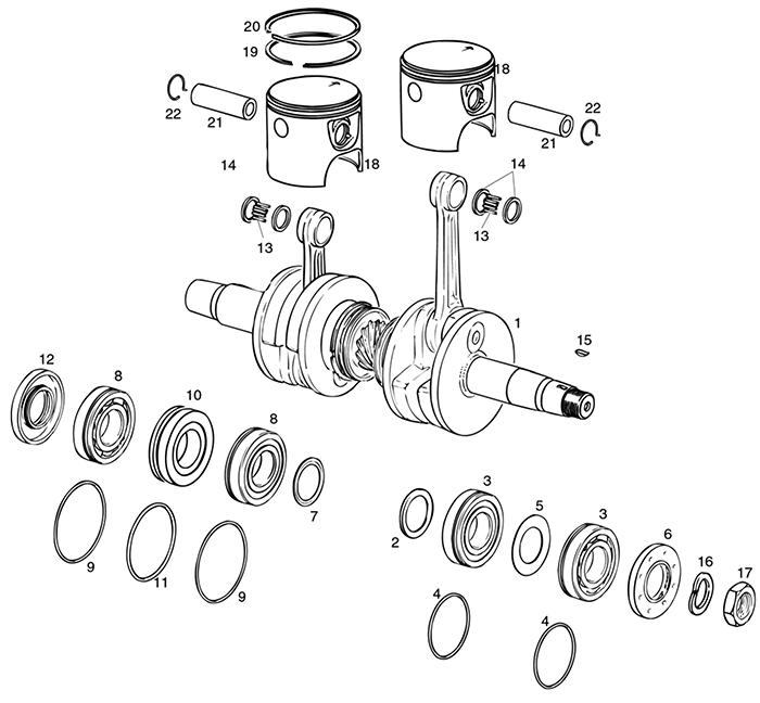 ROTAX 582 UL ENGINE CRANKCASE | MAIN BEARINGS | PISTONS PARTS