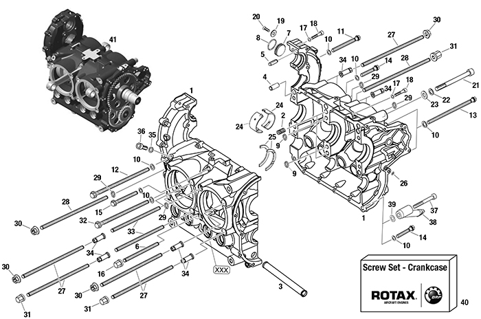 ROTAX 912 | 914 UL ENGINE CRANKCASE PARTS - 06 0010 UP TO 14 4000